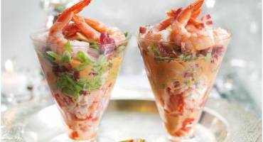 Crayfish and Shrimp Cocktail with Bitter Leaves